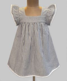 Love this Chambray Stripe Angel-Sleeve Dress - Infant, Toddler & Girls on #zulily! #zulilyfinds