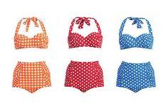 Hot Retro Pinup Rockabilly Vintage High Waist Bikini Swimsuit Swim Wear s M L | eBay