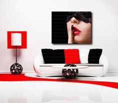 Red Lips Lace Mask Canvas Wall Art Decor