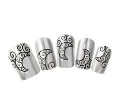 Ottery 1PCS Black Swirl Moon Design Water Transfer Decals Nail Stickers For Nail Art Tattoo Nail Wrap Cell Phone Case ** More info could be found at the image url. (Note:Amazon affiliate link)