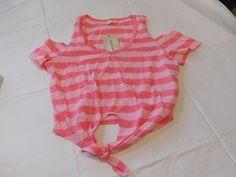 b92d480f061 Derek Heart Womens Short Sleeve crop T Shirt Size M med Pink White Striped  NWT