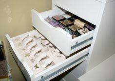 Drawer organization for my scrap supplies...I like the shallow drawers in this Ikea cabinet, so I can see at a glance what I'm looking for, not a lot of shuffling about in the drawer! ~ Gabrielle