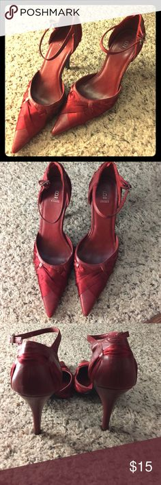 *FLASH SALE*Bakers red hot dress shoes Great condition- approximately 3in heel dress shoe. Red leather with ribbon accents. Please note: Does have none-slip addition to the bottom since when I bought these initially they were very slippery on ground. No box. Bakers Shoes Heels