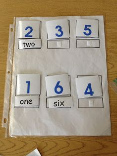 FREE PRINTABLE.  Matching words to pictures for numbers to develop beginning reading skills. www.autismtank.blogspot.com