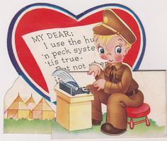 ARMY BOY TYPING HIS BEST GIRL A LETTER CUTE VINTAGE MILTARY VALENTINE'S DAY CARD
