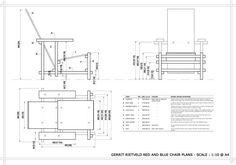 Plan échelle 1/10 de la chaise de Rietveld.
