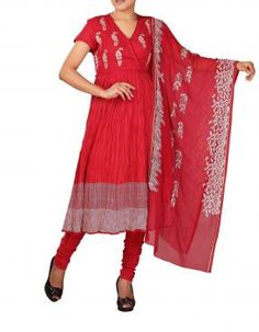 Beautiful printed salwar suit from Indian designers am:pm. Available at : http://strandofsilk.com/ampm/product/womenswear/salwars/crush-effect-red-suit