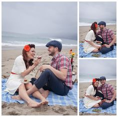 vintage beach picnic engagement session    photography by: www.amandadoublin.com