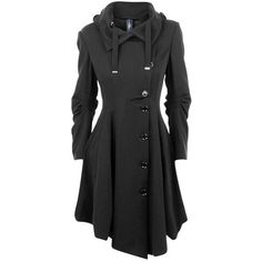 HIGH Jersey Asymmetric Button Trench via Polyvore featuring outerwear, coats, coats & jackets, jackets, button jerseys, button coat, long sleeve asymmetric coat, long sleeve jersey and asymmetrical trench coat
