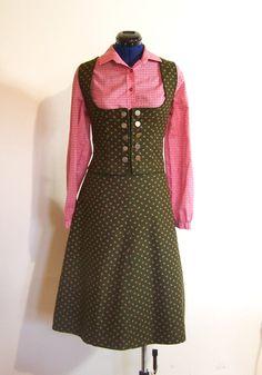 Trachtenmode - Vintage Dirndl Zweiteiler, grün, Gr. 42/44
