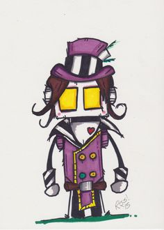 """ORIGINAL ART: """"A robot dressed as Moxxi from Borderlands"""" by Randall Smith, original 5X7 marker drawing"""