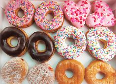 Cute Colorful And Yummy My Favorite Are The Pink Frosted Sprinkled Ones And The Jelly Powdered  Ones :-)