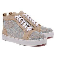 d56d61c2088 Christian Louboutin Louis White Strass High Top Sneakers Taupe Cheap Christian  Louboutin