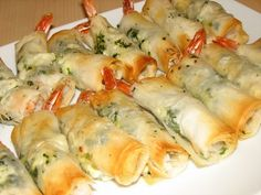 Herb and Feta Phyllo Wrapped Shrimp. Made these 1.29.12. Not that great, and definitely not worth all the effort.