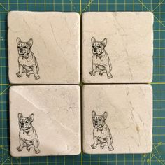This listing is for a set of four, 4x4 tumbled marble French Bulldog coasters.  Stone is sealed and has a cork backing to protect your furniture. I