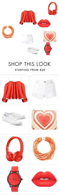 """""""going to the beach"""" by goncharuk333 on Polyvore featuring Anna October, Miss Selfridge, Lacoste, Christopher Kane, Arthur Marder Fine Jewelry, Simplify and Lime Crime"""