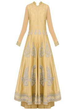 Dark beige pearl and dabka embroidered anarkali set with palazzo pants available only at Pernia's Pop Up Shop.