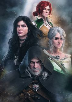 《The Witcher Wild Hunt / Geralt of Rivia, Ciri, Yennefer of Vengerberg and Triss Merigold》 The Witcher Wild Hunt, The Witcher 3, The Witcher Books, Witcher Art, The Witcher Wallpapers, Geralt And Ciri, Triss Merigold Witcher 3, Yennefer Witcher, Witcher Tattoo