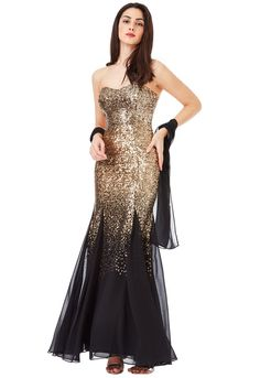 92f40ec77f Goddiva Strapless Sequin and Chiffon Maxi Dress With Scarf in Black