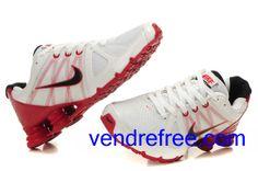 pretty nice 9e7cd 84081 Vendre pas cher Homme Nike Shox R4 Chaussures (couleur vamp-blanc ,rouge interieur-blanc,noir,logo et sole-noir,rouge) en ligne en France.