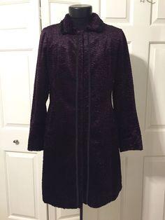 Hilary Radley Studio Womens Coat Sz 8 Purple Faux Persian Lamb Black Rabbit Fur #HilaryRadley #BasicCoat