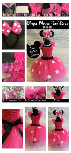 Minnie Mouse inspired tutu dress | No sew mouse tutu dress instructions