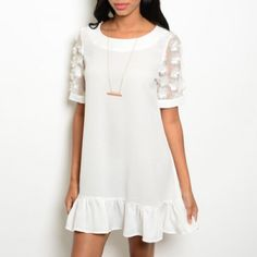 White Ruffle Hem Shift Dress + Floral Detail White Ruffle Hem Shift Dress + Sheer Floral Sleeves | Floral Shift Dress in White  * PRICE FIRM UNLESS BUNDLED Scoop neckline Sheer sleeves Floral appliqué on sleeves Ruffle hem Not lined  85% polyester, 12% rayon, 3% spandex Hand wash cold Dresses Mini