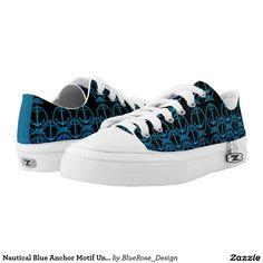Nautical Blue Anchor Motif Unisex Shoes Printed Shoes