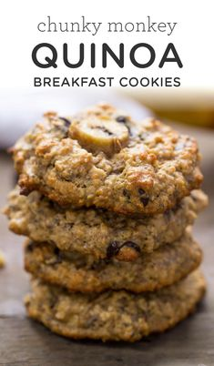 Healthy Snacks Chunky Monkey Quinoa Breakfast Cookies taste like dessert, but are healthy enough for breakfast! Flavored with banana, peanut butter, oats, quinoa Healthy Sweets, Healthy Breakfast Recipes, Healthy Baking, Healthy Snacks, Healthy Recipes, Dessert Healthy, Quinoa For Breakfast, Quinoa Desserts, Recipes For Quinoa