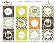 FREE printable Thanksgiving WOODLAND OWL COLLECTION by http://smittenblogdesignspartyprintables.blogspot.com