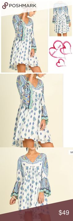 Just In! Boho Peasant Dress S, L Bell Sleeve Boho Print Peasant Dress This bohemian beauty looks perfect with sandals or booties! This dress is unlined. Fabric: COTTON BLEND Dresses