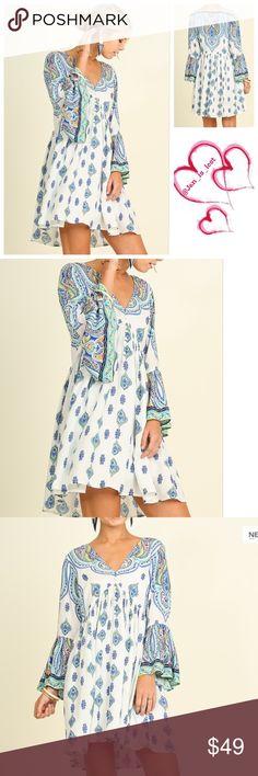 Boho Peasant Dress S,M,L ARRIVES 7/15❗️ Bell Sleeve Boho Print Peasant Dress Fabric: COTTON BLEND Dresses