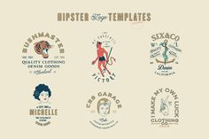 16 Hipster Logo Templates ~ Logo Templates ~ Creative Market – Expolore the best and the special ideas about Vintage logos Logo Hipster, Tumblr Hipster, Hipster Design, Vintage Logos, Vintage Graphic, Vintage Modern, Business Brochure, Business Card Logo, Creative Market
