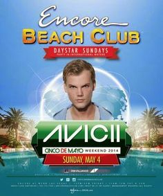 Avicii at Encore Beach Club Las Vegas Sunday May 4th. Contact 702.741.CITY(2489) CITY VIP CONCIERGE for Tickets, Cabana, Daybed, Bungalow Reservations and the Best of Any & Everything Fabulous in Las Vegas!!! #EncoreBeachClub #VegasPoolParties #CityVIPConcierge *CALL OR CLICK TO BOOK* http://www.cityvipconcierge.com/las-vegas-pools-cabanas.html