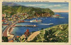 Vintage California postcard showing beautiful Avalon Bay and Catalina Yacht Club & Casino on Catalina Island, CA.