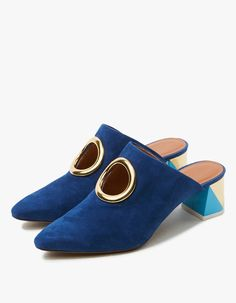 From Neous, a slip-on, pointed toe mule in Blue. Gold ring detail. Leather lining. Padded footbed. Multicolor block heel. • Suede upper • Leather sole • Made in Italy • Women's sizes listed