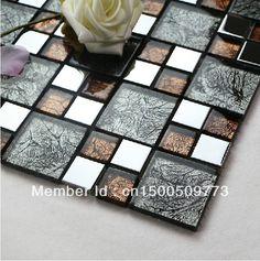 FREE SHIPPING Stainless Steel Glass Tiles, metal mosaic tiles, wall tiles,kitchen backsplash, flooring tiles $189.89