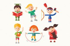 Children - 24 Characters Sets by Decorwith.me Shop on @creativemarket