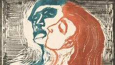"""artist-munch: """"Man and Woman I, Edvard Munch Medium: woodcut,board"""" Edvard Munch, Mary Cassatt, Pierre Auguste Renoir, Camille Pissarro, Edgar Degas, Art And Illustration, Monet, Gouache, Famous Art Pieces"""