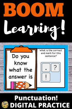 Punctuation - Distance Learning - Boom Cards - Practice your grammar skills with these fun digital task cards!  Grades 2-3 #readingcenters #boomcards #grammar #digitaltaskcards #smithsafari  #endmarks #grade2 #grade1 #teacherspayteachers