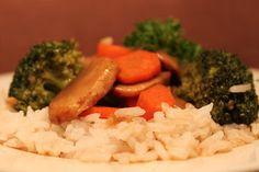 Brocolli mushrooms and carrots sauteed in garlic sauce