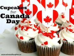 Canada Day Party Guide- Ideas & Recipes - Echoes of Laughter Canada Day Pictures, Cupcake Toppers, Cupcake Cakes, Canada Birthday, Canada Day Party, Gingerbread Cupcakes, Flag Cake, Party Drinks Alcohol, Cupcakes With Cream Cheese Frosting