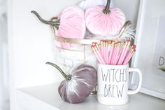 Decorate for fall with blush pink, white and gold accents! home décor; how to decorate for fall. Pink Home Offices, Fall Floral Arrangements, Velvet Pumpkins, Love Affair, Fall Season, Office Decor, Blush Pink, Fall Decor, Color Schemes