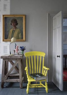 Wall colours of Farrow & Ball. And a neon yellow chair :) Decor, Colorful Interiors, Grey Bedroom With Pop Of Color, Interior, Painted Furniture, Yellow Chair, Home Decor, Farrow And Ball Paint, Farrow Ball