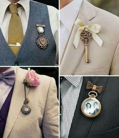 Very cool vintage button hole ideas for the groom. Wedding Groom, Wedding Attire, Our Wedding, Dream Wedding, Spring Wedding, Wedding Suits, Wedding Table, Budget Wedding, Groom Boutonniere