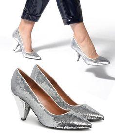 42115bbfa2eb Escarpins de soirée à paillettes argentées - MADE BY SARENZA - Chaussures  Femme