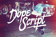 Dope Script Fonts Dope Script is a rough around the edges, hand-made paint brush font with bags of personality.It co by Sam Parrett Sans Serif, Script Fonts, New Fonts, Graffiti Font, Bulletins, Brush Font, Set Sail, Creative Sketches, Lyrics