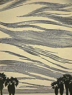 Don-Blanding-1948-DESERT-PALMS-Art-Deco-Print-Matted