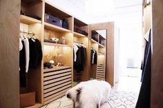 Contemporary Modern Closet: Open storage in a compartmentalized dressing area . Walk In Wardrobe, Walk In Closet, Wardrobe Ideas, Showroom, The Line Apartment, Loft, Lifestyle Shop, Dream Closets, Closet Space