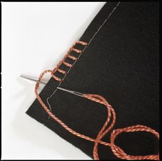 """To make a long row of even blanket stitches, machine-baste a visible line 1/4"""" from the edge of the fabric and use this basting line as a guide for stitch length."""